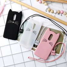 Universal 3D Cute Cat Mobile Phone Straps Rope Neck Lanyard Soft TPU Grid Strap Case Breast Plate Ring Rotary