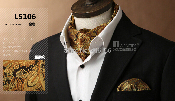 Men Ascot Cravat(Scarf )+Pocket Square 1set/lot Gold L5106 Purple New Classic 100% Silk Paisley Jacquard Ties - Bo Shop store