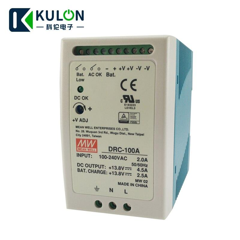 Original MEAN WELL DRC-100A 96 W 12 ~ 15 V meanwell din schiene typ sicherheit Netzteil mit Batterie ladegerät (UPS funktion) DRC-100