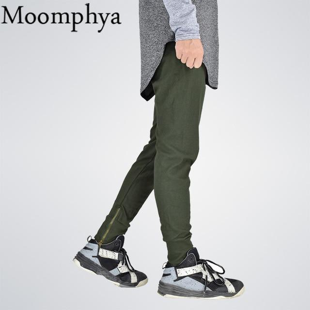 Moomphya 2017 side zip Sweatpants Fall autumn skinny Side zipper pants streetwear Army green military hip hop Men Joggers pants