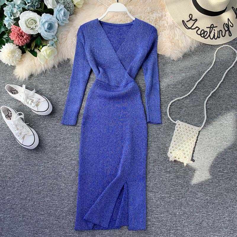NiceMix Knitted Women Long Sleeve Autumn Winter Sexy Bodycon Sweater Dress V Neck Stretchy Club Party