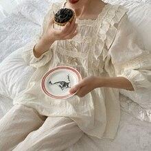 Superieure Zachte Linnen Katoen vrouwen Boog Pyjama Sets Vrouwelijke Losse Leuke Pyjama Lente Herfst Casual Nachtkleding Plus Size