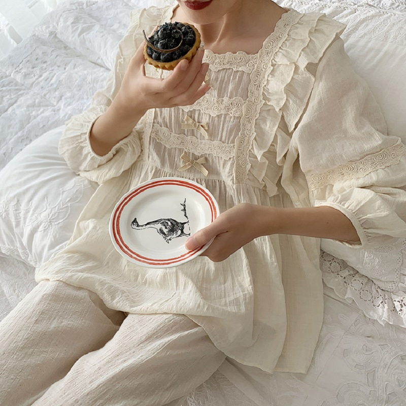 Superior Soft Linen Cotton Women's Bow Pajamas Sets Female Loose Cute Pyjamas Spring Autumn Casual Sleepwear Plus Size