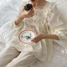 Üstün yumuşak keten pamuk kadın yay pijama setleri kadın gevşek sevimli pijama bahar sonbahar rahat pijama artı boyutu