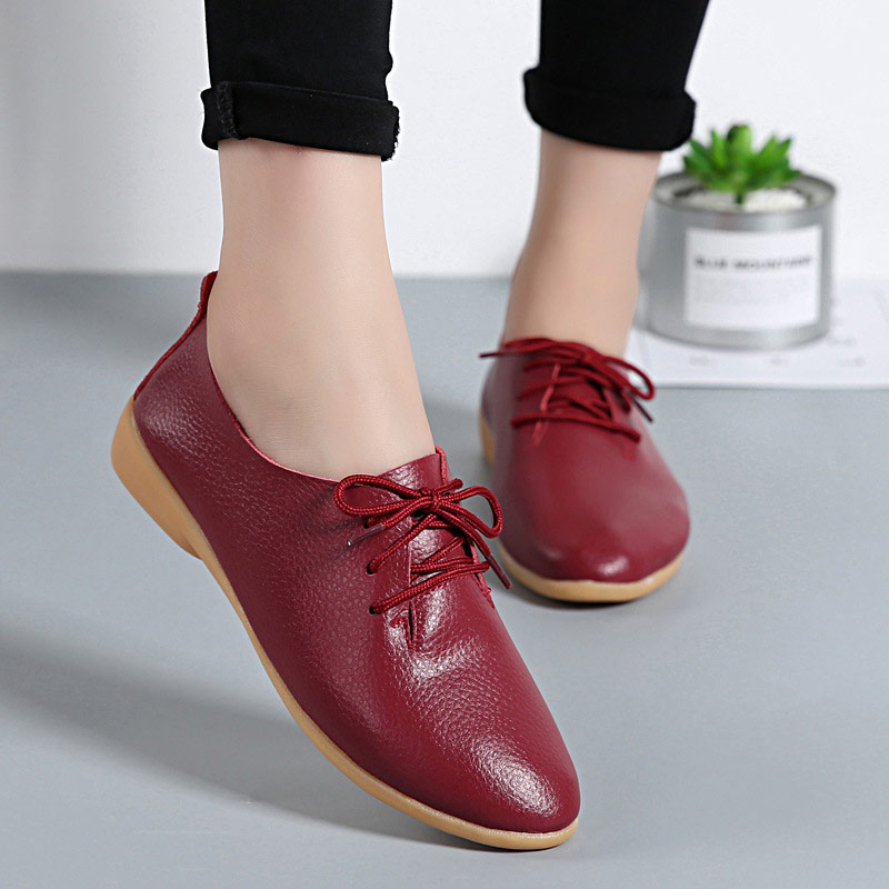 Women Flats Genuine Leather Shoes Summer Fashion Casual Comfortable Women Shoes Solid Lace-up Shoes Woman Female Ladies Shoes