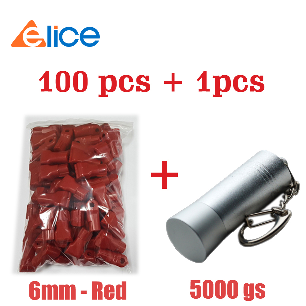 (100 + 1) pequeño cierre antirrobo de plástico 6 MM-rojo + Mini gancho magnético para tienda de venta al por menor Rack amplificador de guitarra Vintage, soporte para llaves, Jack Rack 2,0 Marshall JCM800, portallaves Marshall