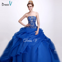 Dressv Royal Blue Strapless Ball Gown Quinceanera Dress Sleeveless Floor Length Lace Up Sequins Quinceanera Dress