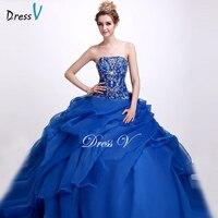 Dressv Royal Blue Strapless Ball Gown Quinceanera Dress Sleeveless Floor Length Lace Up Sequins Quinceanera Dress