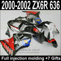 Bodywork Fairings kits For Kawasaki ZX6R 2000 2001 2002 ( Red Blue sticker ) Fairing Kit 00 01 02 ABS Injection mold S94