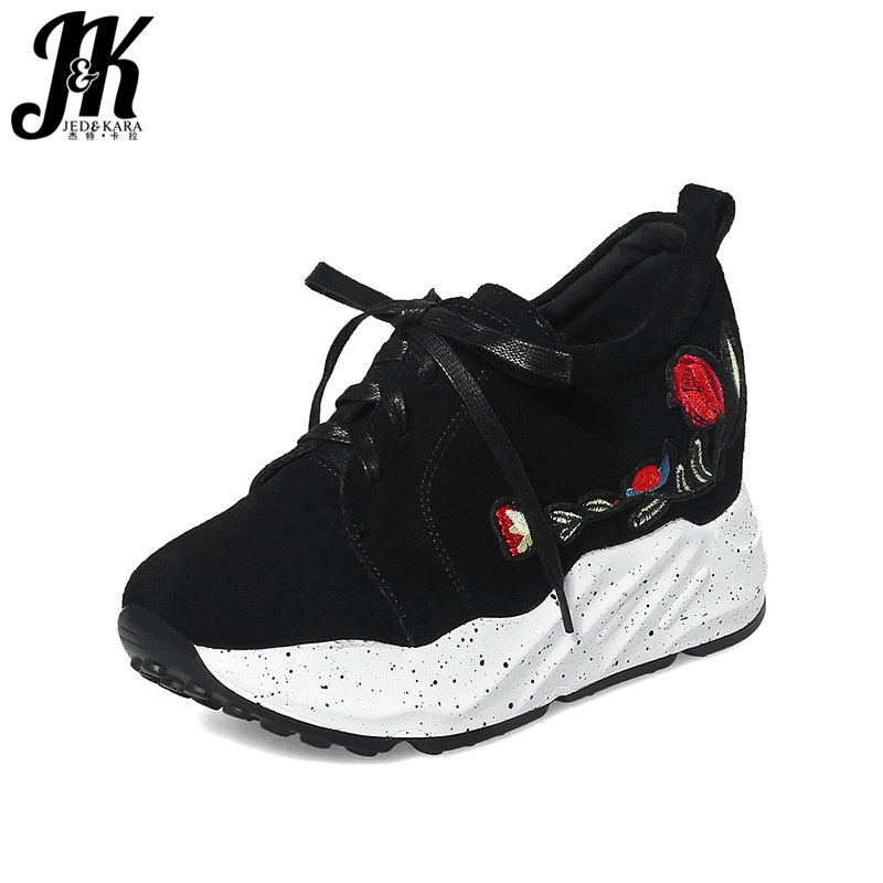 JK Elevator Sneakers Shoes Round Toe Lace Up Flats Embroider Flock Footwear 2018 Brand Spring Fashion Girl Casual Platform Shoes