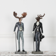 Modern Creative resin deer people figurines vintage elk statue home decor crafts room decoration objects animal