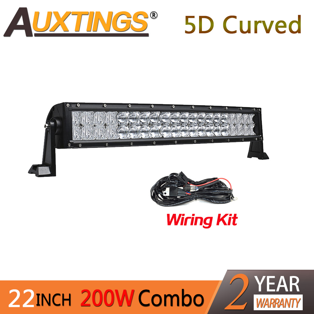 Auxtings 5D 21'' 22 inch 200w combo beam light dual rows IP67 waterproof CE RoHS car 5D Curved LED light bar for JEEP truck car truck led ramp 36w led light bar with ip67 waterproof rate