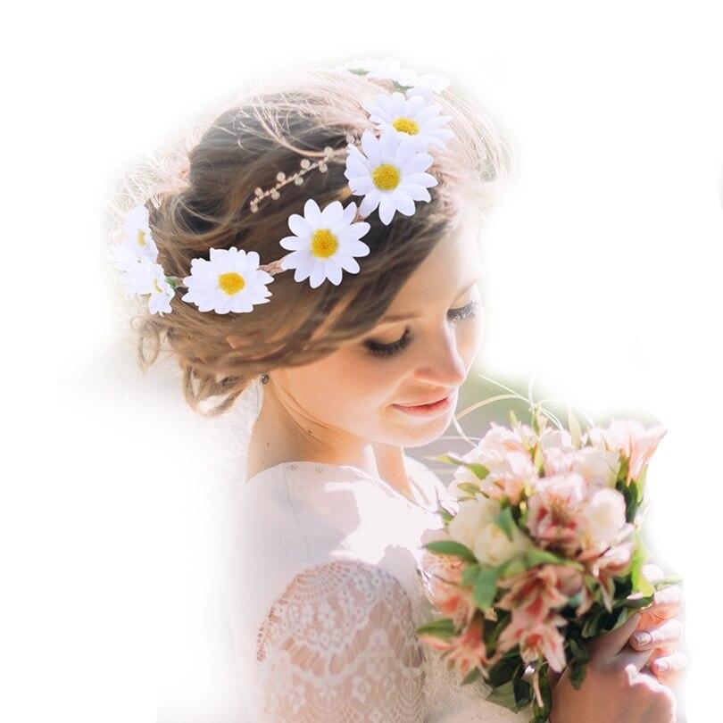 Haimeikang Girls Headbands Sun Flower Crown Hair Band for Bridal Wedding Headwear Daisy Floral Hat Cap Accessories