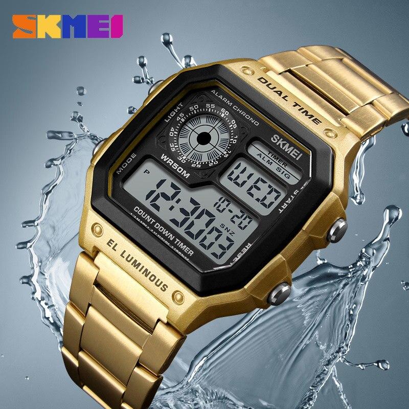 SKMEI Männer Sport Uhren Countdown Wasserdichte Uhr Edelstahl Mode Digitale Armbanduhren Männlich Uhr Relogio Masculino