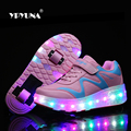 Size 27-37//  2016 Child LED Light Children Roller Skate shoe led children's Kids Sneakers With Girls&Boys With One/Two Wheels