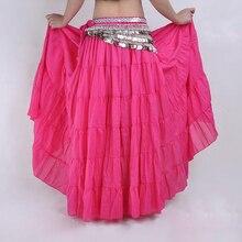2018 NEW Fashion Bohemia Long Skirt Swing Skirt Belly Dance Ballroom Costumes Full Circle Women Dress Dance Skirts hot pink