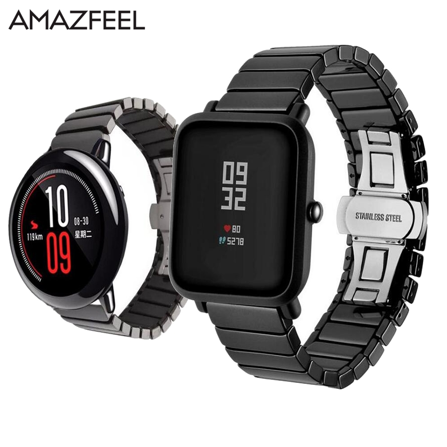 Amazfeel Ceramic Band for Xiaomi Huami <font><b>Amazfit</b></font> Stratos <font><b>2</b></font> pace <font><b>Amazfit</b></font> bip <font><b>bit</b></font> Smart Watch Strap Band 22MM 20MM Bracelet Replace image