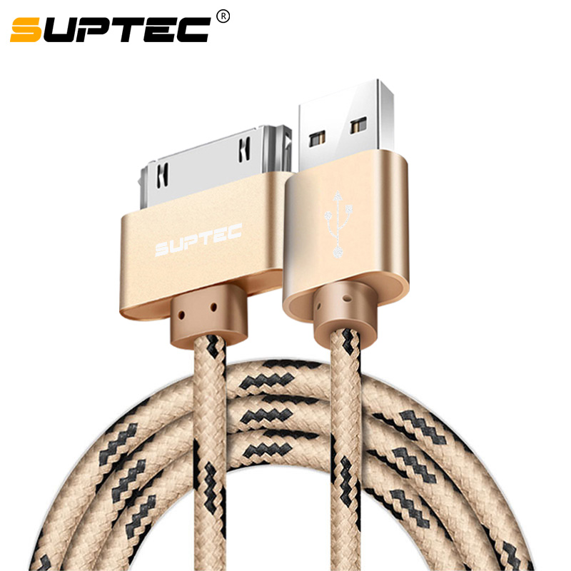 SUPTEC 2M 3M USB Cable Fast Charging for iPhone 4S 4 iPad 1 2 3 iPod Nano iTouch Nylon Braided 30 Pin Charger Cable Data Cord(China)