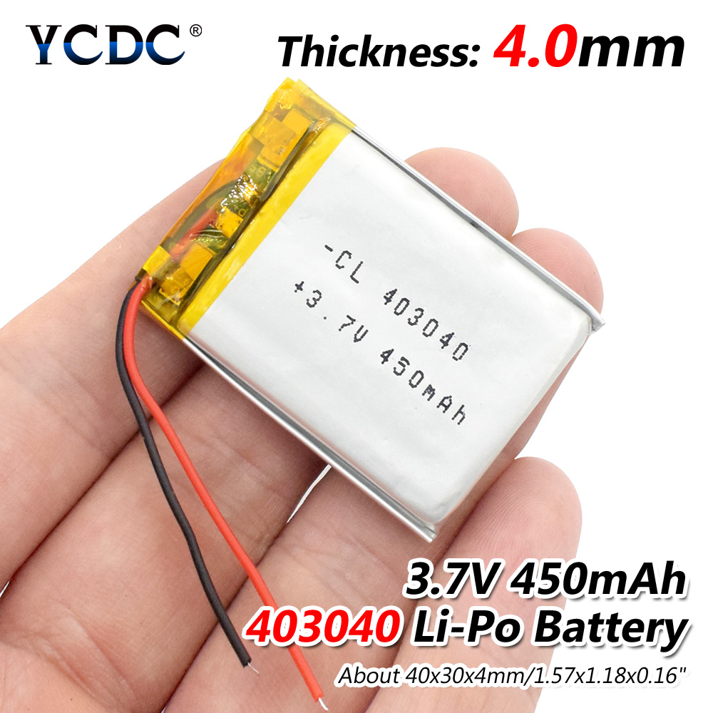 3.7V 450mAh 403040 Lithium Polymer Li-Po li ion Rechargeable Battery Lipo cells For Tachograph Car DVR Bluetooth speaker Camera 502828 3 7v 450mah li ion rechargeable lipo 3 7v mp3 player with aaa battery
