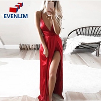 EVENLIM Slip Satin Backless Sexy Long Dress Women Pajamas Summer Dress Evening Party Elegant Black Maxi