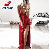 EVENLIM Slip Satin Backless Sexy Long Dress Women Pajamas Summer Dress Evening Party Elegant Black Maxi