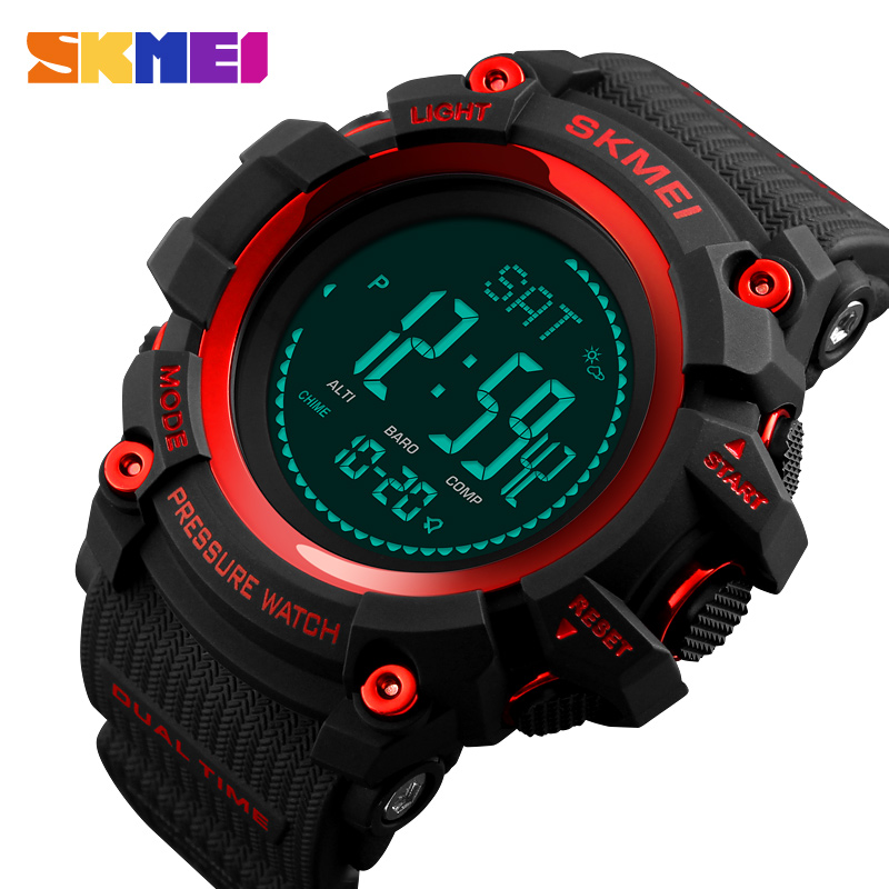 <font><b>SKMEI</b></font> Men Digital Watch Compass Thermometer Weather Pressure Altimeter Countdown Sport Watch Fashion Electronic Men's Watch image