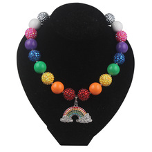 children Chunky Bubblegom Bead Rainbow multicolor fashion Necklace Kids Girls Princess ballet Pendant necklace NL024