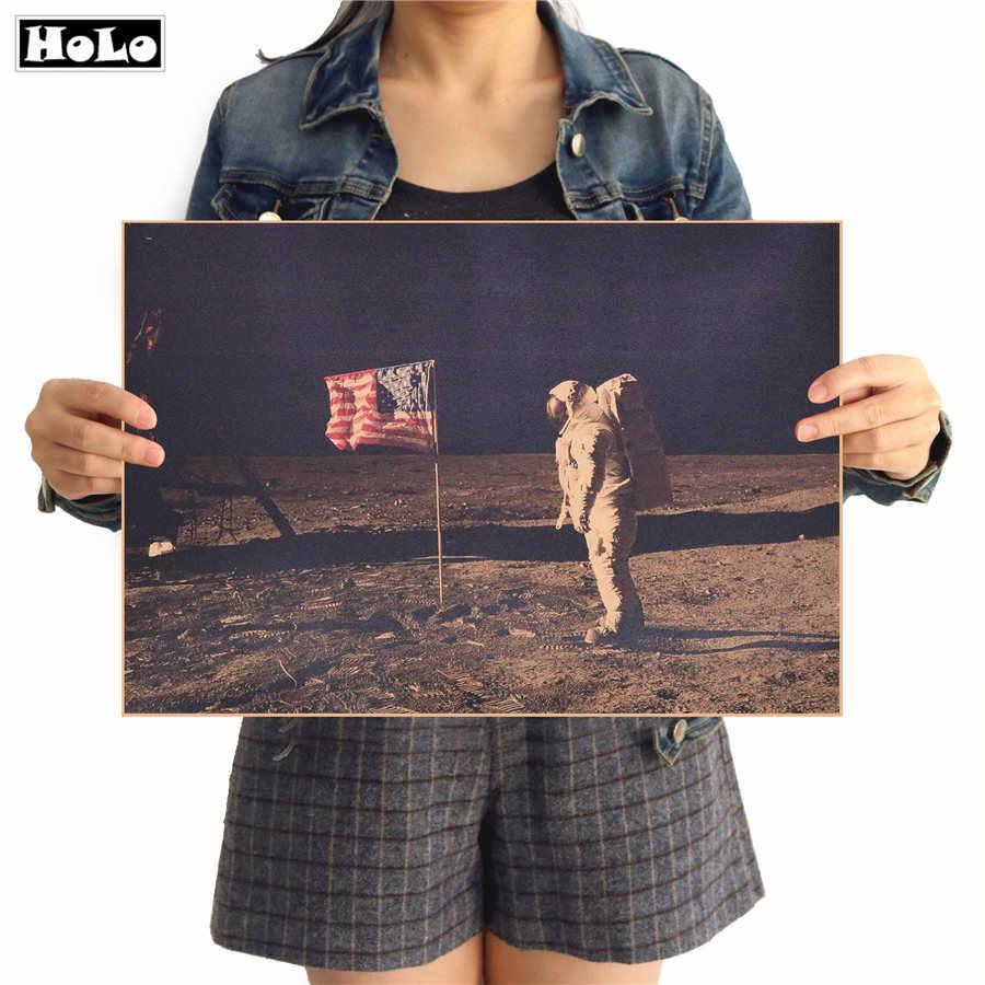 Poster retro do papel de krafst do vintage da restauração da lua do poster da nave espacial de apollo americano histórico que aterrou na lua 42x30cm