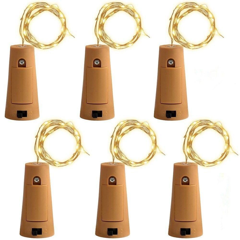 6pcs/lot Cork Shape Bottle Copper Lights 2M 20 Leds Button Battery Operated LED String Light Xmas Wedding party Decoration