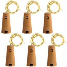 6pcs/lot Cork Shape Bottle Copper Lights 2M 20 Leds Button Battery Operated LED String Light Xmas Wedding party Decoration