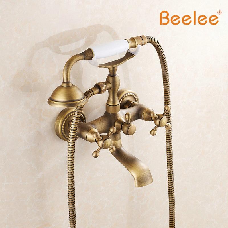 Beelee BL2101A Antique Full Copper Bathtub Faucet Shower Faucet Bathtub Royal Suite Continental