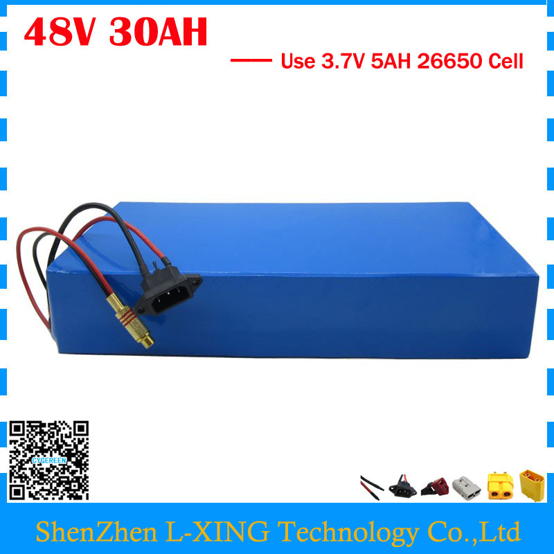 Free customs duty 48V electric bike battery 48v 30ah lithium battery use 3.7V 5AH 26650 cell 50A BMS with 2A Charger us eu free customs duty lithium 48v 1000w e bike battery 48v 17ah for original panasonic 18650 cell with 5a charger 30a bms