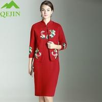 winter mink cashmere women set vest dresses sets wool dress Embroidery flower lady outerwear think warm fashion 2 piece big size