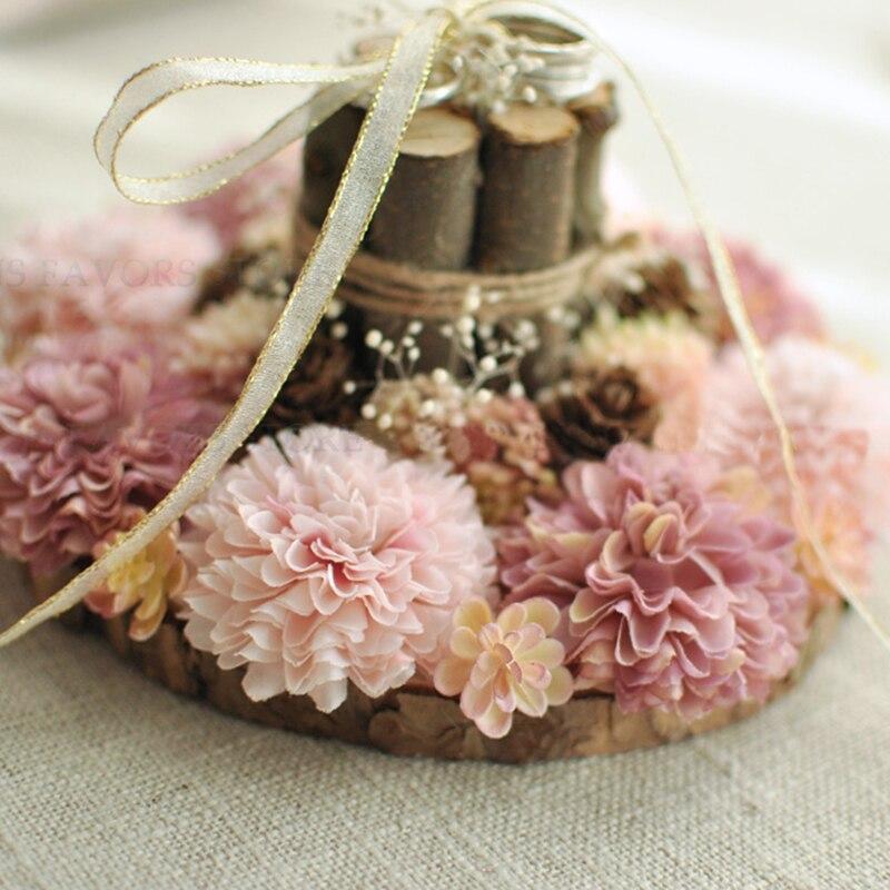 Gratuit shipping1pcs naturel en bois roue rose arbre fruitier fiançailles mariage décoration oreiller mariage bonne idée