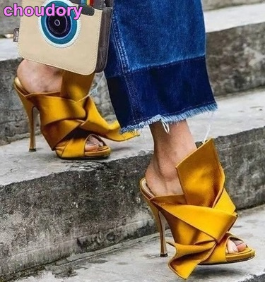 Young Girl's Sweet Big Bowtie Sandals Silk Satin Fabric Butterfly-Knot Dress High Heel Shoes Slip-on Slippers Wedding Shoes zapatos mujer black red summer sweet bowtie flat sandals slip toe beach sandals butterfly knot flat sandals shoes plus size 44