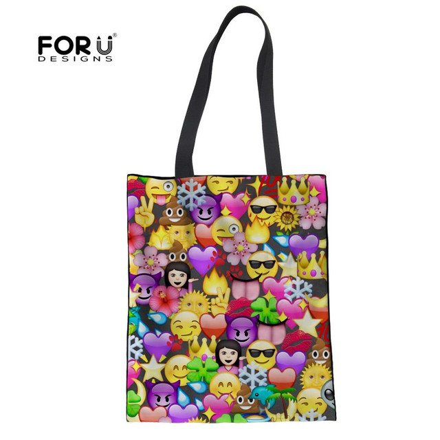 5216254bb FORUDESIGNS Emoji Shopping Bags Women Casual Cute Print Female Lady  Foldable Cloth Bags Girls Canvas Recycle Bags Bolsas Mujer