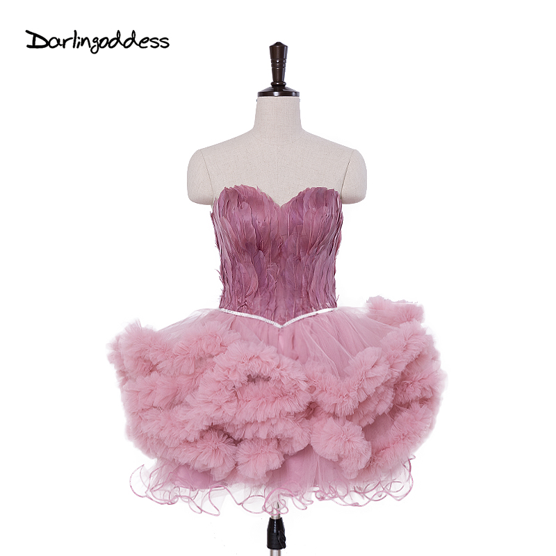 Sexy Deep Pink Mini Ball Gown Cocktail Dresses Sweetheart Feathers Short Party Gown Backless Prom Dress Robe De Cocktail