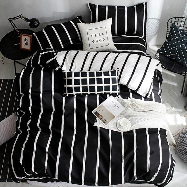 3/4 шт геометрический серый одеяло постельного белья полиэстер супер двуспальная кровать накладки пододеяльник простыня накидка для подушек набор