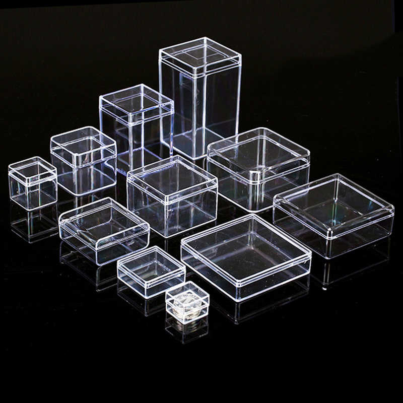 Transparent Clear Plastic Storage Box Jewelry Organizer Case Coins Earrings Necklace Storage Cosmetic Organizer Rangement Bijoux