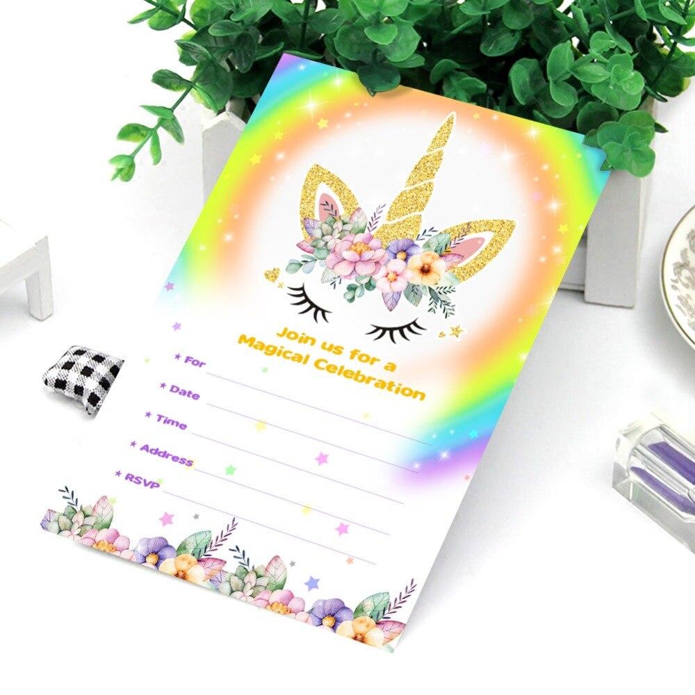 OurWarm 10pcs Unicorn Invitations Card Unicorn Birthday Party for ...