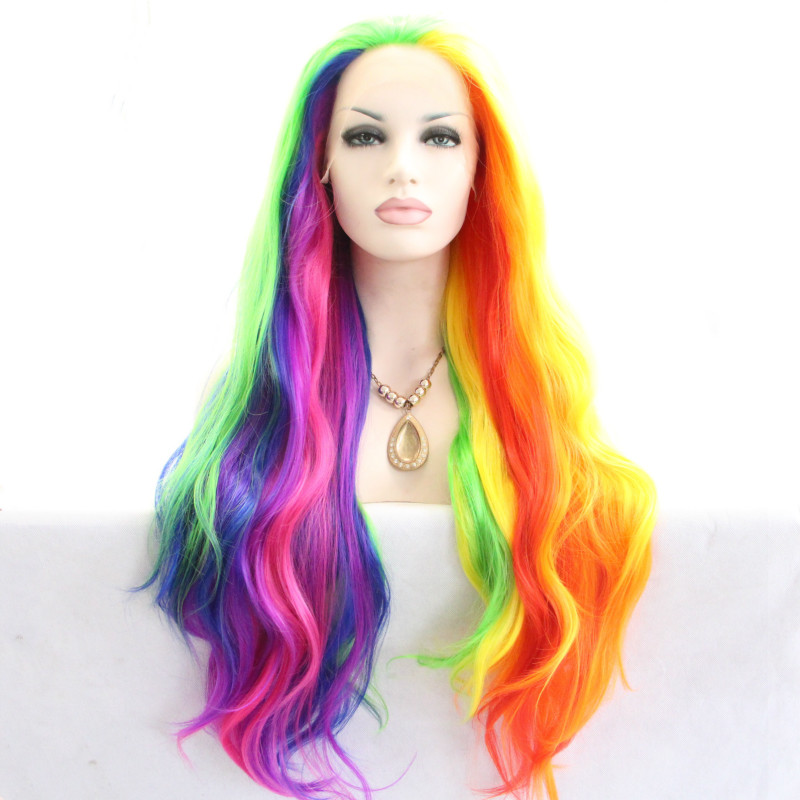 ФОТО Fashion Heat Resistant Fiber Rainbow Colors Colorful  Natural Wave wig Synthetic Lace Front Wigs Long Body Wavy Hair For Women