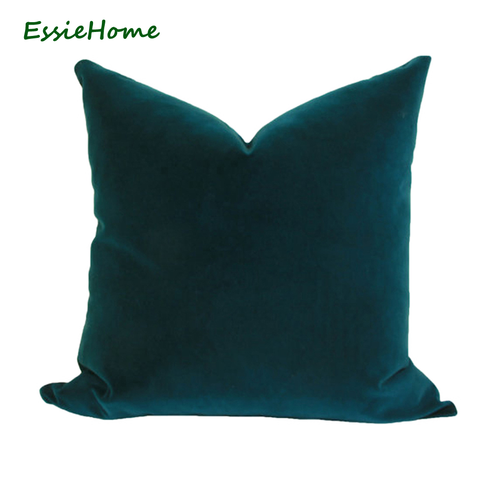 ESSIE HOME Luxury Peacock Blue Turquoise Velvet Cushion Cover Pillow Case Lumber Pillow Case