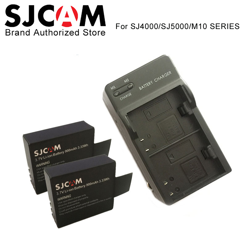 SJCAM sj4000 accesorios cargador Dual + 2 piezas SJCAM batería, para SJCAM sj4000 sj5000 M10 Wifi SJ5000X Elite Sport acción Cámara