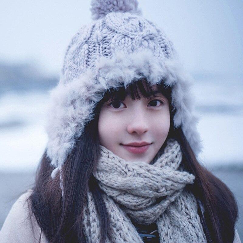 Amiable Winter Wool Knitted Bomber Hats For Women Rabbit Fur Pompom Ball Bonnet Cap Twist Warm Earflap Beanies Hat