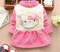 2016 новый зимний новорожденных девочек свитер загущенные с бантом кошка кашемир утолщенной тонг дна рубашки A183