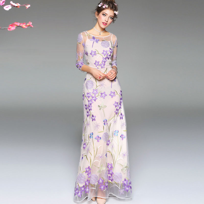 New Arrival 2018 Spring Summer Womens O Neck 3/4 Sleeves Embroidery Sexy Tulle Laid Over Floral Elegant Maxi Runway Dresses