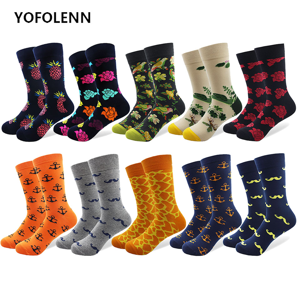 10 pairs/lot Mens Combed Cotton Socks Novelty Beard Flower Anchor Pattern Casual Crew Long Tube Happy Dress Socks Breathable