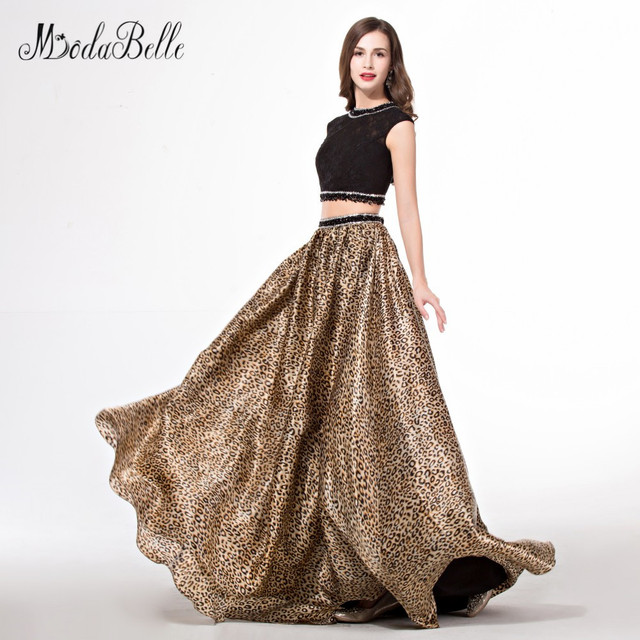 modabelle rhinestone beaded 2 piece prom dresses black leopard print robe bal de promo evening