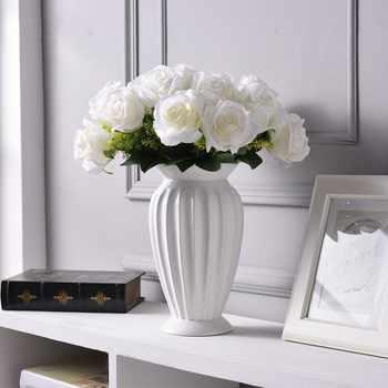 โมเดิร์น Minimalist ยุโรปสไตล์เซรามิคแจกันดอกไม้เครื่องประดับ Tabletop ดอกไม้สีขาวแจกันงานแต่งงาน Decor แจกันเซรามิค - DISCOUNT ITEM  10% OFF บ้านและสวน