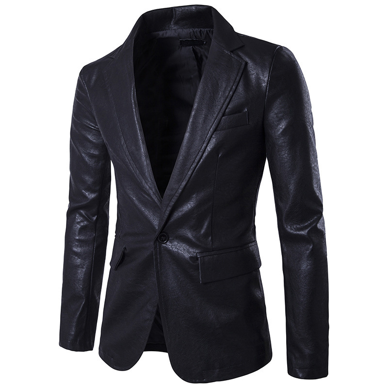 Fashionable Dropshipping Pure Color Wholesale PU Leather Blazers Dance Wedding Men's Single One-button European Size Top Coat